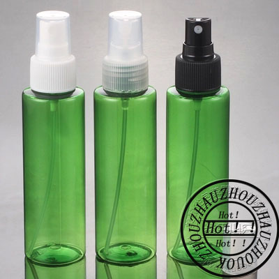100mlX50 empty round green color spray pump plastic bottles 100cc empty cosmetic container 3 4oz toilet