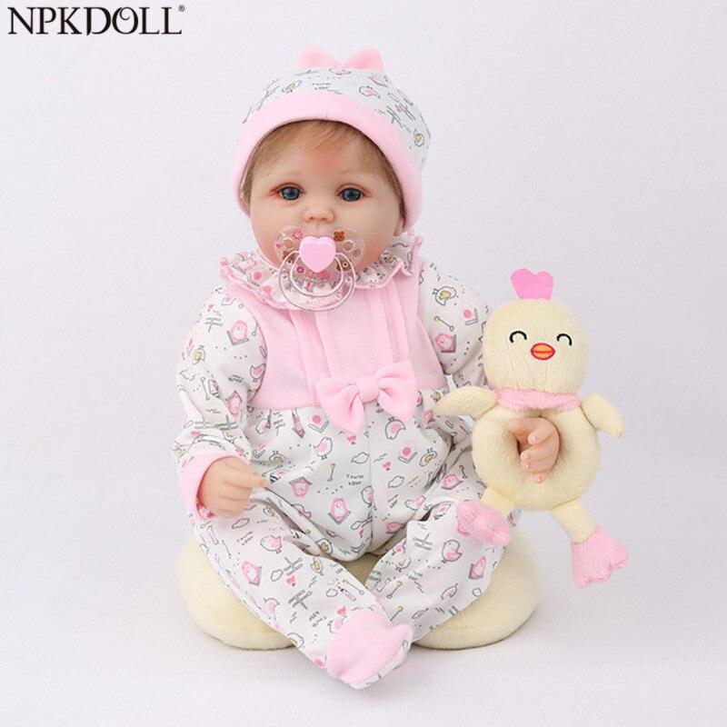 """NPKDOLL Кукла реборн 45 см Рождественский подарок для девочек 17 дюймов Baby Alive мягкие игрушки """"Цыплята"""" для девочек Lovely Bebe Reborn-in Куклы from Игрушки и хобби"""