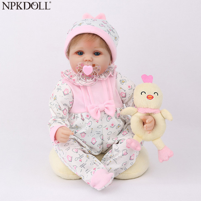 NPKDOLL Reborn Baby Doll 45CM Christmas Gift For Girls 17 Inch Baby Alive Soft Chicken Toys For Girls Lovely Bebe Reborn