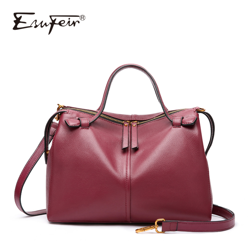ESUFEIR Genuine Leather Women Shoulder Bag Luxury Handbag Women Bags Designer Crossbody Messenger Bag Large capacity Casual Tote runningtiger luxury brand designer bucket bag women leather yellow shoulder bag handbag large capacity crossbody bag