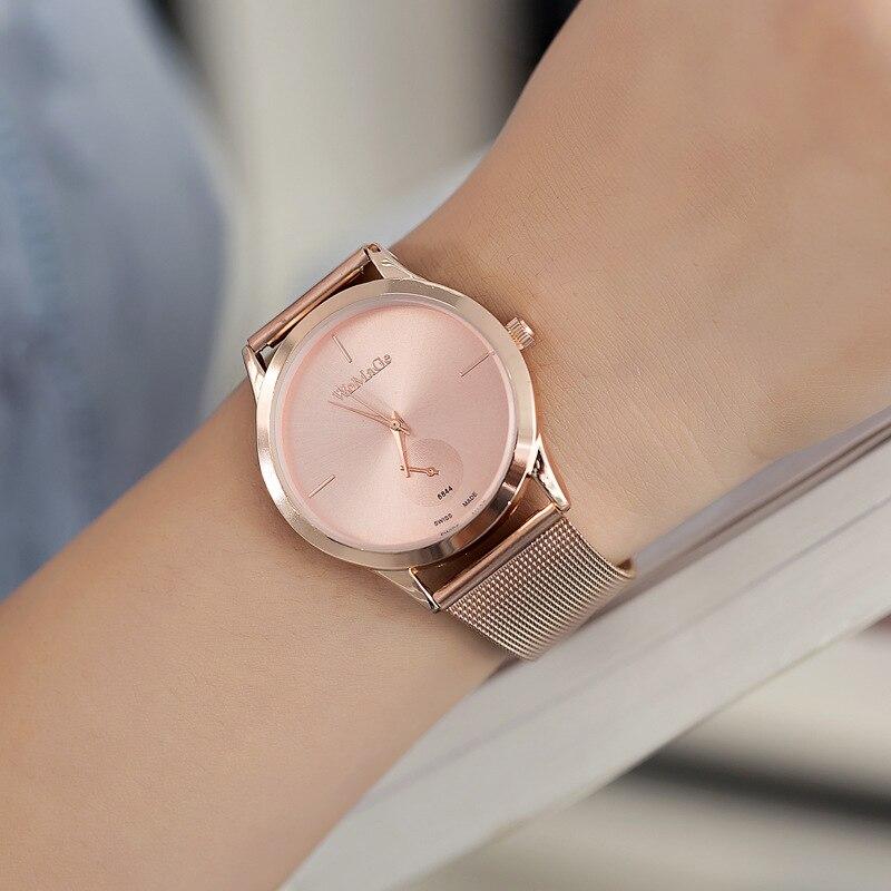 WoMaGe Luxus Marke Frauen Uhren Edelstahl Band Legierung Gürtel Minimalistischen Quarz Armbanduhr relogio feminino bajan kol saati