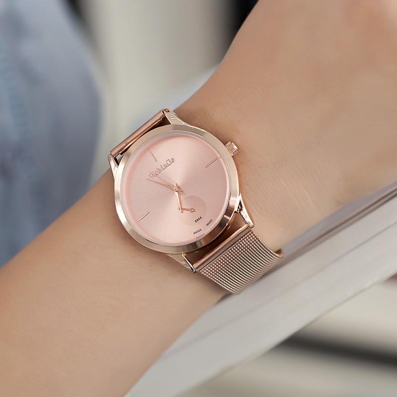 WoMaGe marca de lujo relojes de acero inoxidable correa de la aleación minimalista reloj de cuarzo relogio feminino bayan kol saati