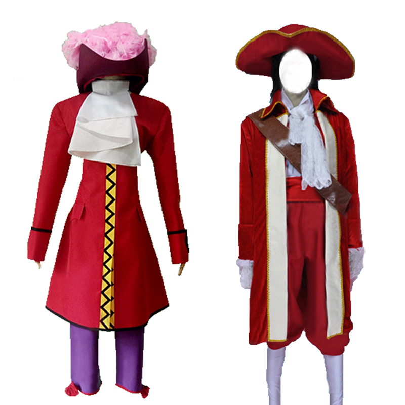 F Peter Pan Captain Hook Cosplay Costume Adult Men Halloween Outfit Custom Made 2 styles can choose