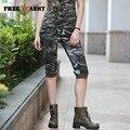Freearmy Marca Das Mulheres Calças de Camuflagem Do Exército das Mulheres de Carga Meia Calça Shorts de Algodão Sexy Calças Justas Para As Mulheres GK-9518B