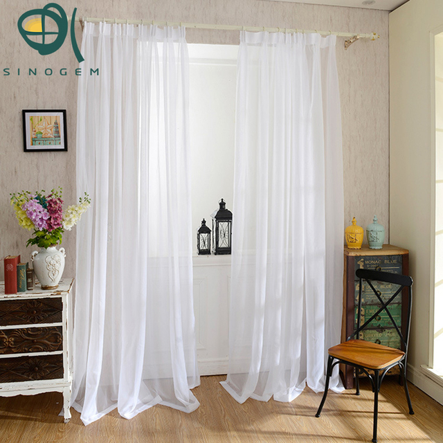 Sinogem Finished Pure Window Transparent Voile Curtains Panel Tulle Sheer For Living Room Clearance