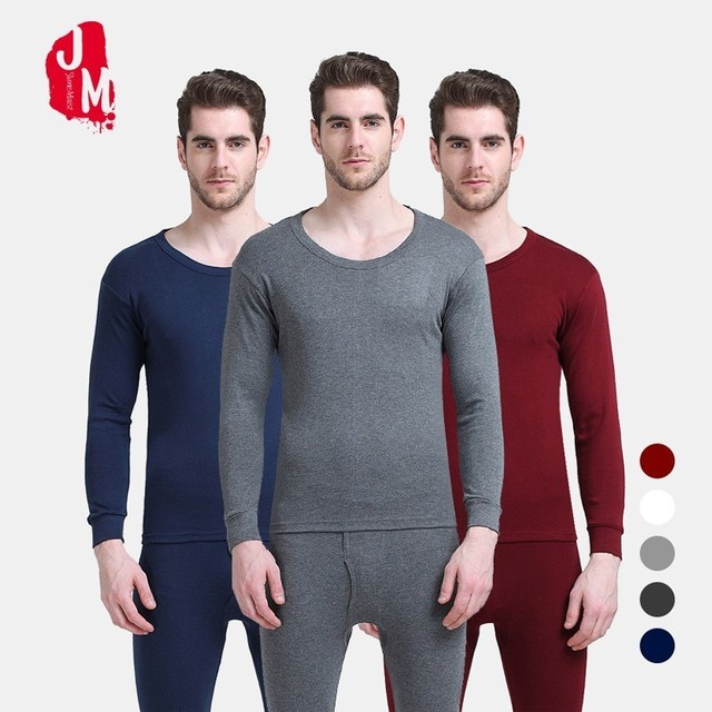 47f07ff86 Winter Autumn Men Warm Thermal Underwears Cotton Long Johns Thermal  Underwear Sets Thick Black Gray High