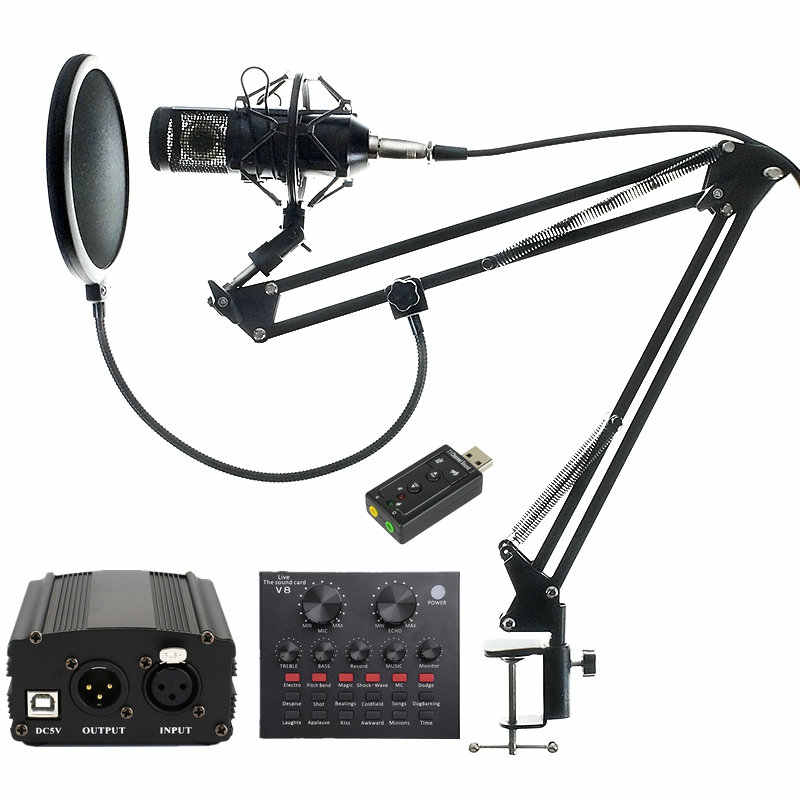 BM 800 Professional Condenser Studio Microphone Audio Vocal recording for Computer karaoke Phantom power pop filter Sound card