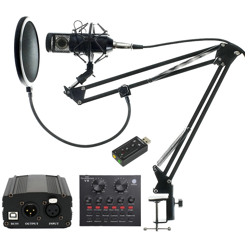 Bm 800 profissional condensador estúdio microfone de áudio gravação vocal para o computador karaoke phantom power pop filtro placa som