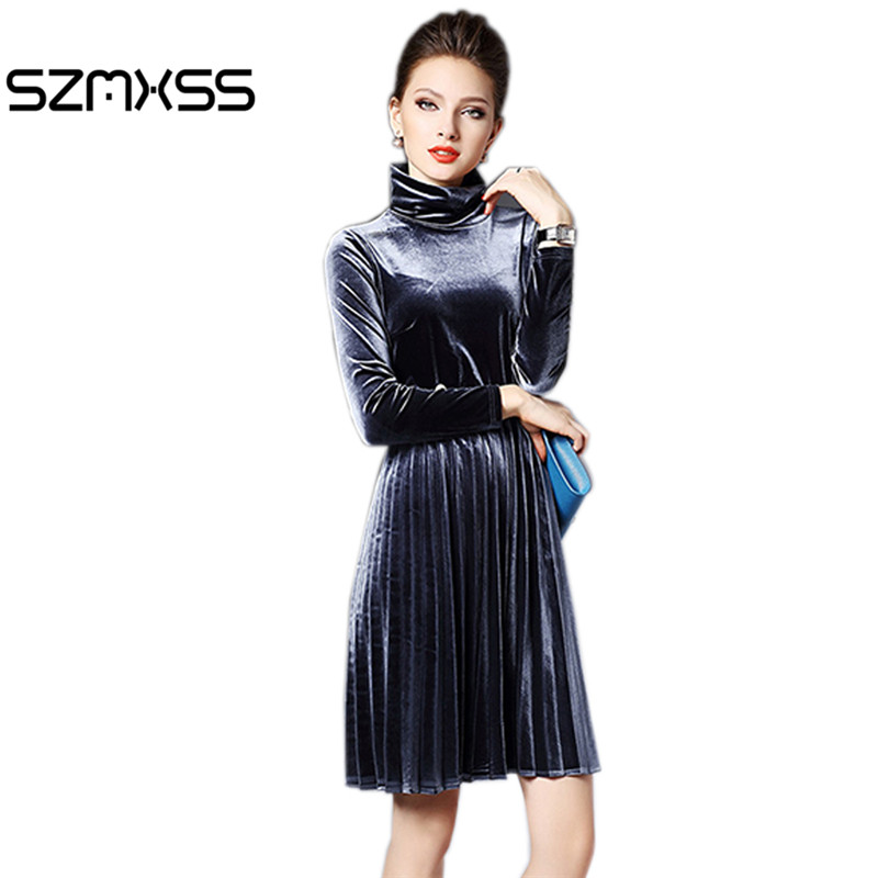 2016 New Fashion Autumn Winter Warm Turtleneck Velvet Dress For Women Pearl Elegant Vintage Sexy Party Dresses Pleated Vestidos-in Dresses from Women's Clothing
