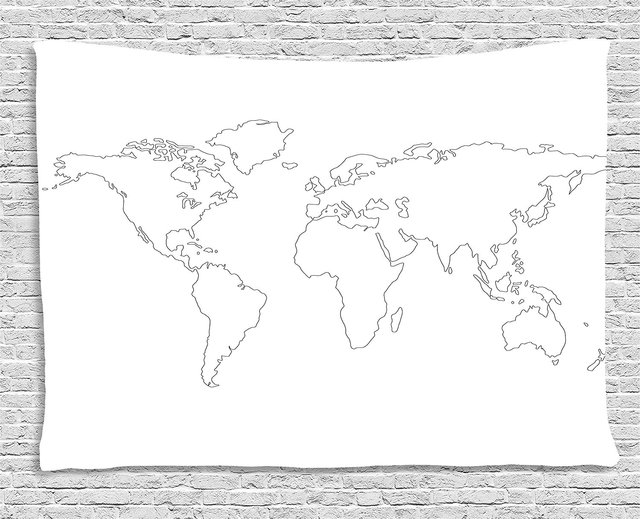 Map Tapestry Simplistic Design World Map Outline With Thin Black