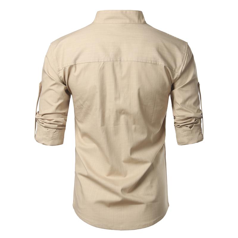 Tunique col Mao beige, manches longues, avec poche, vue de dos