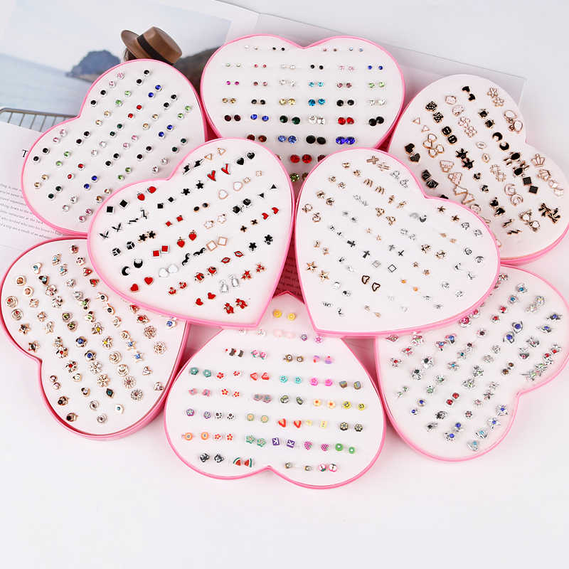 Women Star Moon Small Stud Earrings Sets Girl Children Fashion Jewelry Party Birthday Christmas Gift 36 Pairs /lot