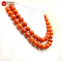 Qingmos Trendy Natural Orange Coral Necklace for Women with 14 15mm Round Coral Necklace 2 Strands Jewelry Chokers 17 19 ne6506