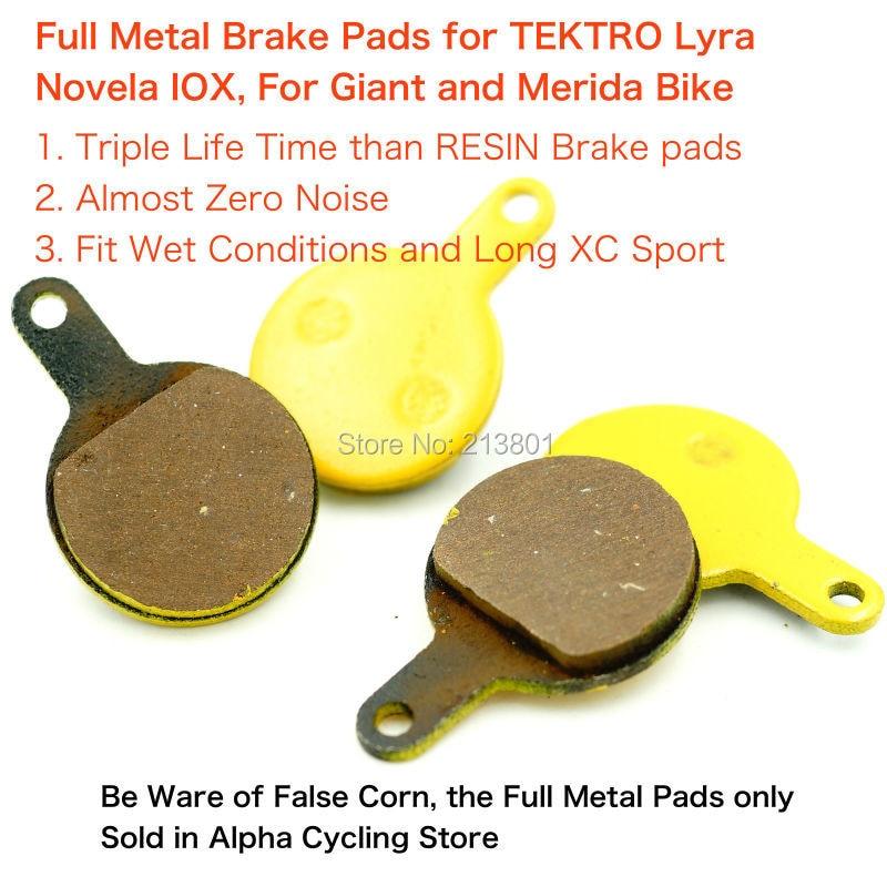 Full Metal Bike Disc Brake Pads for Tektro Lyra Novela Iox Disc Brake, 2 Pairs / ORD tektro 300 hydraulic disc brake