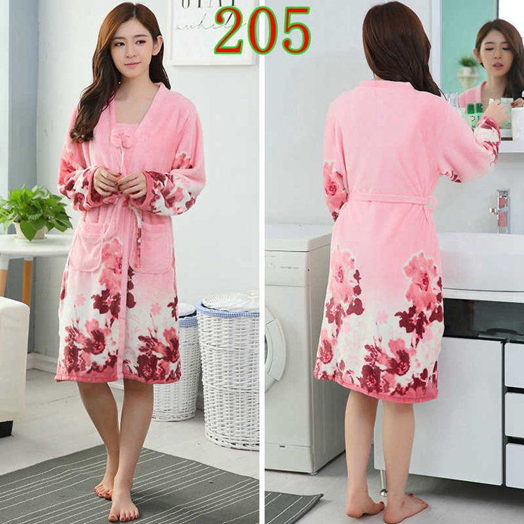 2PCS Sexy Thick Warm Flannel Robes Sets for Women 2018 Winter Coral Velvet Lingerie Night Dress Bathrobe Two Piece Set Nightgown 256