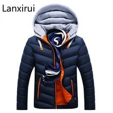 Winter Jacket Men Hat Detachable Warm Coat Cotton-Padded Outwear Mens Coats Jackets Hooded Collar Slim Clothes Thick Parkas цена