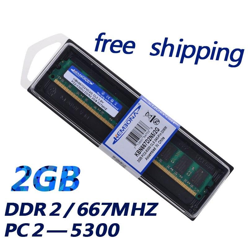 KEMBONA Stock marque new Sealed DDR2 667/PC2 5300 PC DE BUREAU DDR2 2 GB Mémoire Ram Mémoire livraison gratuite