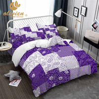 Plaid Bedding Set Square Duvet Cover Queen Purple King Size Bedding Ethnic Style Home Textile 3D Bed Linen 25