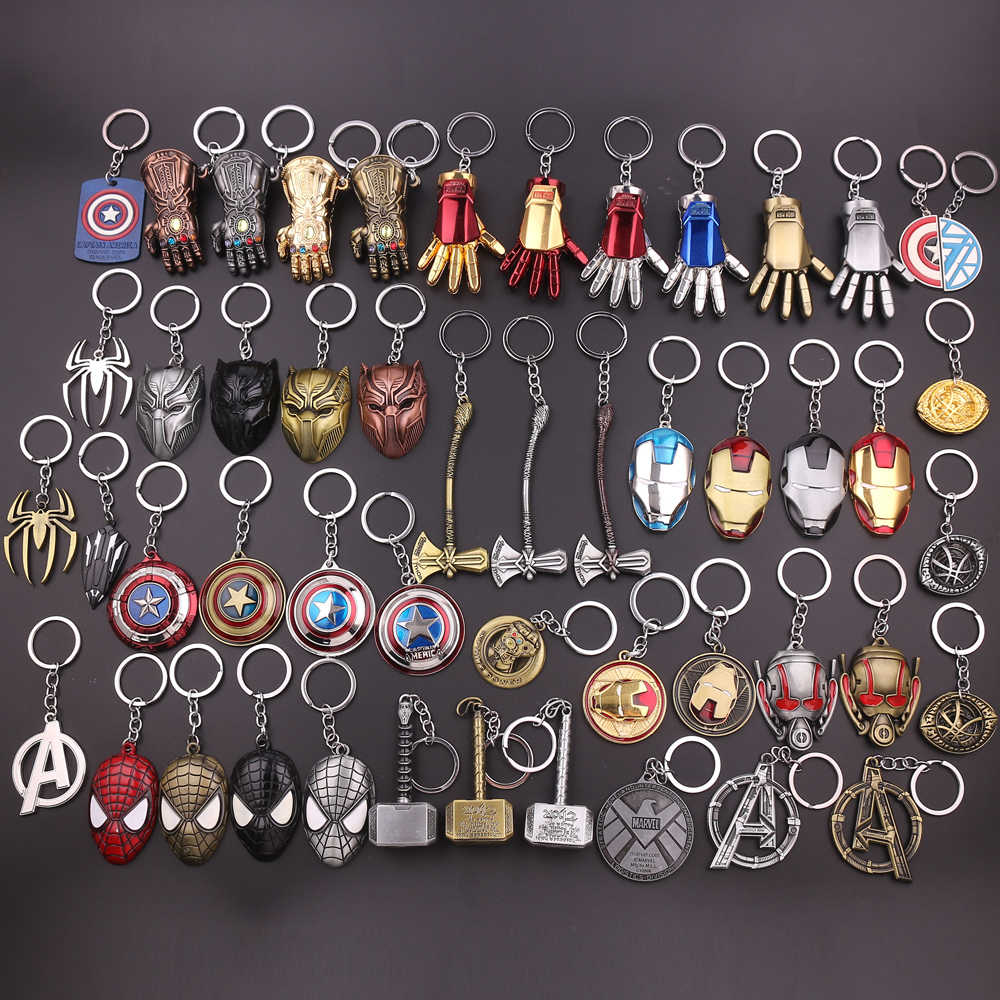 Marvel Movie Avengers Superhero Iron Man Mask Thor's Hammer Keychain Captain America Spider-Man Thanos Infinity Gloves Key chain