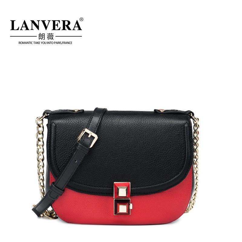 Genuine Leather Women Messenger Bag 2017 New Saddle Bag Women Fashion Cross Body Chains Shoulder Bag For Girls Small Handbag