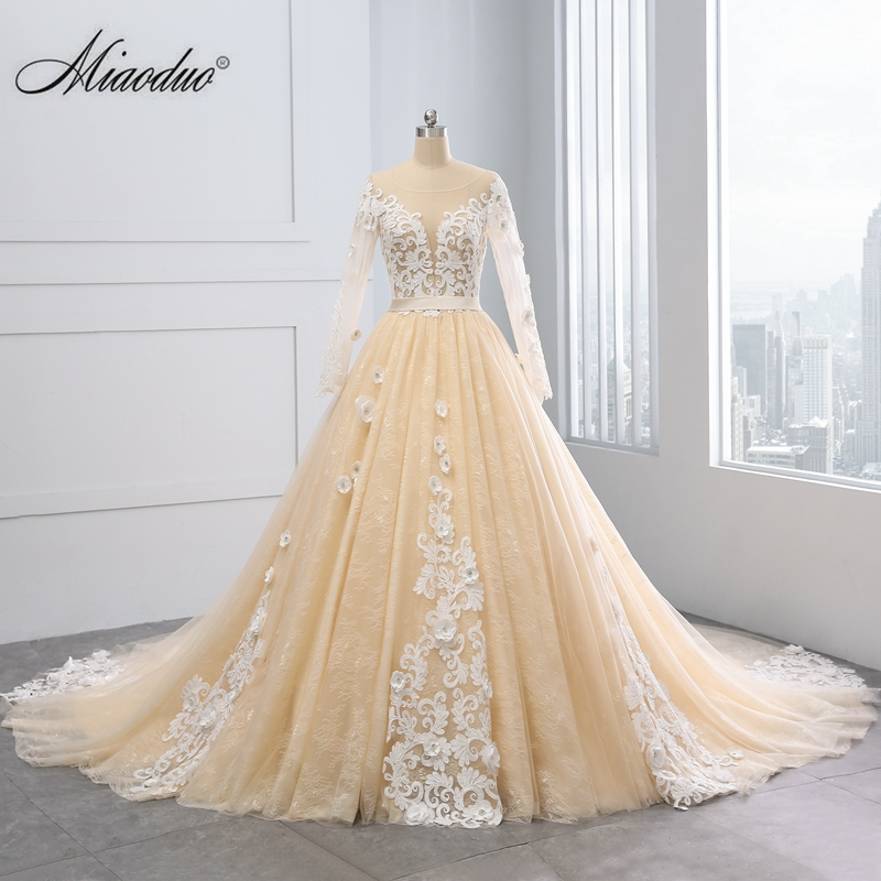 Vintage Champagne Wedding Dresses Lace Appliques Ball Gown: Aliexpress.com : Buy Miaoduo 2018 New Ball Gown Wedding