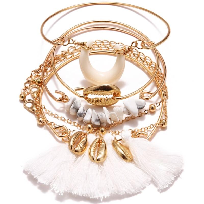 KISSWIFE браслет в стиле бохо ракушка Луна кисточкой браслет для женщин Ретро Геометрические выразительные очаровательные вечерние свадебные ювелирные изделия аксессуары - Окраска металла: KWZJ0454