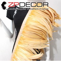 Tight! ZPDECOR Wholesale 1yard/150pcs 30 35CM Champagne Chicken Coque Feather Fringe Trim for Carnival Costume Decoration