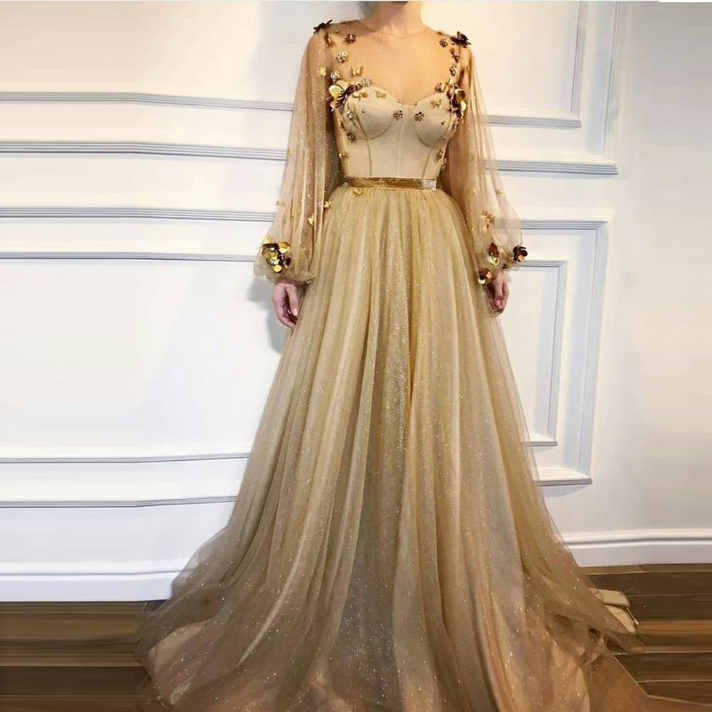 Pleine Robes A Robe Soirée 3d O Or ligne Bouffée Tulle De Bal Modeste Parti Arabe Formelle cou Arabie Manches Fleur 2019 6gY7ybf