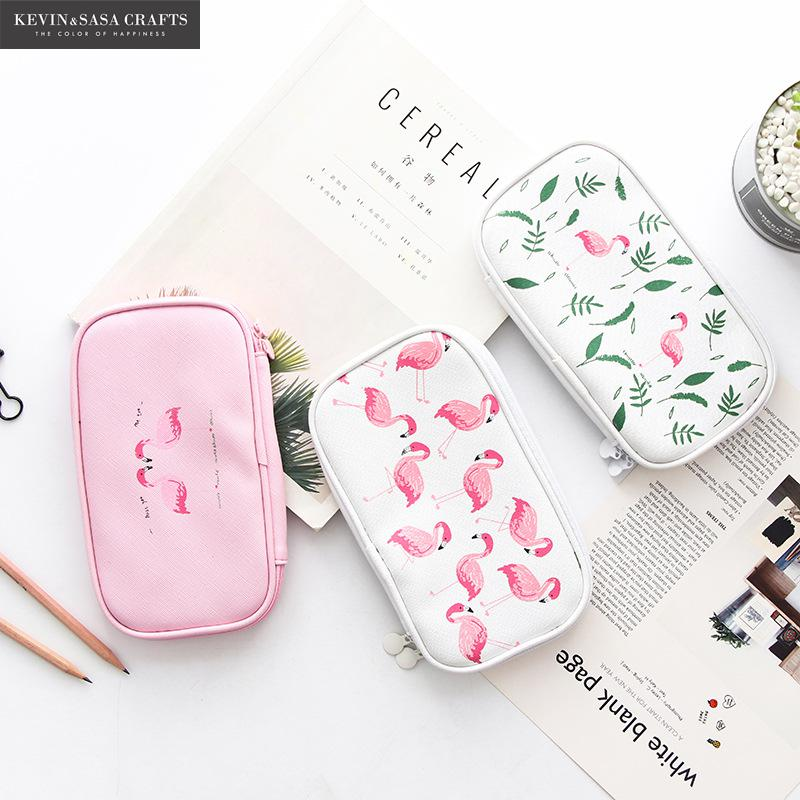 все цены на Super Big Pencil Case New Flamingo Quality Cute School Supplies Bts Stationery Gift School Cute Pencil Box Pencilcase Pencil Bag онлайн