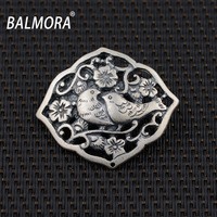 New Style 100 Real 990 Pure Silver Jewelry Retro Birds Flowers Pendants For Necklaces Women Accessories