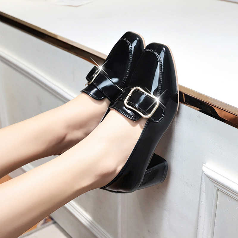 134573081 ... Japanned Leather chunky zapatos de mujer high heels loafers metal belt  square buckle decorate pumps brand ...
