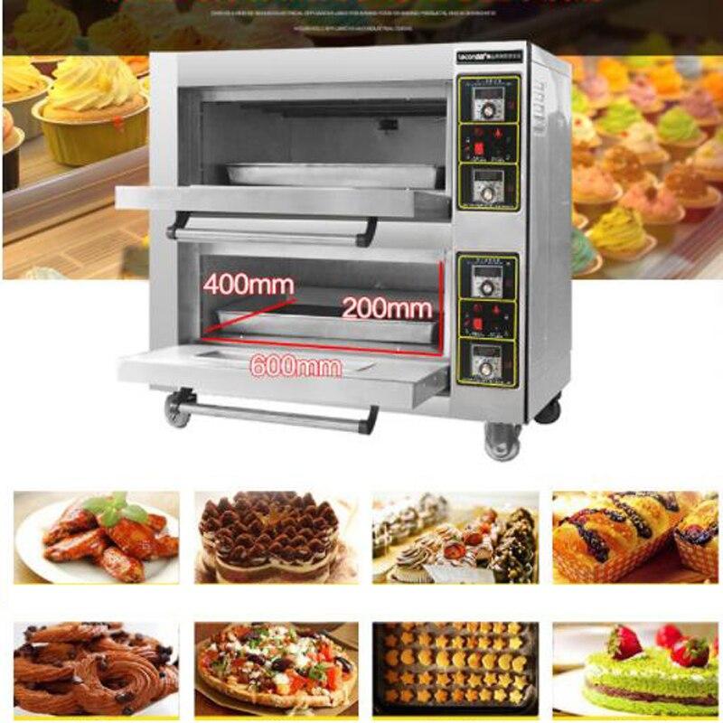 220 v four électrique Commercial cuisson four four cuisson double couches double plaques cuisson pain gâteau pain Pizza machine 6800 w