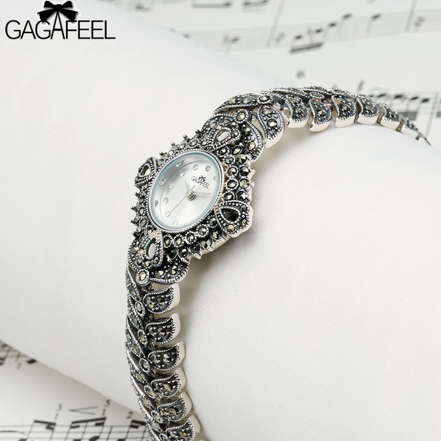 GAGAFEEL Women's Bracelet Watch 925 Sterling Silver Wristwatch Clock Luxury Bran