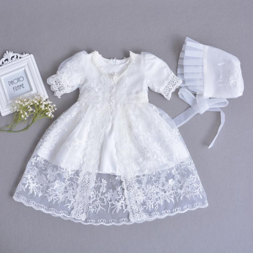 New White Christening Baby Girl Dress Dress+Hat+Shawl Vestido Infantil Princess Birthday Party Girls Clothes for Newborn Baptism