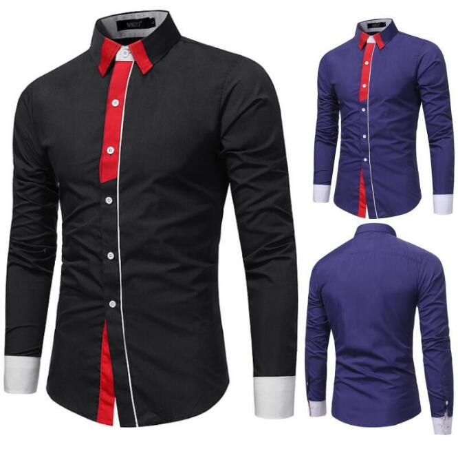 ONE PUNCH-MAN Mens long contrast Sleeve solid casul Clearance Slim Fit Button Front Shirts designer business shirt boys males spring clothing