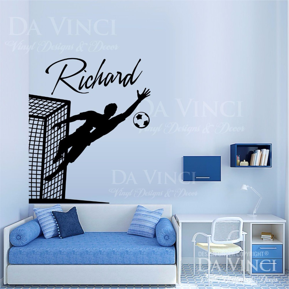 Soccer player goalkeeper vinyl wall decal personalized custom boyl soccer player goalkeeper vinyl wall decal personalized custom boyl name football sport art wall sticker bedroom home decoration in wall stickers from home amipublicfo Image collections