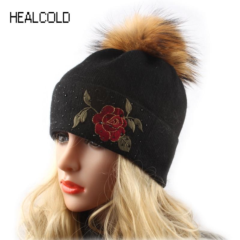 Zimní vlněná pletená čepice pro ženy Mink Fur Fur Pompom Klobouky Dámská čepice Pompon Beanies Vyšívání Rose Flower Cap