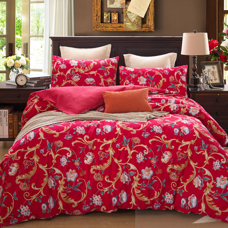 American Country Style Red Girls Brushed Bedding Sets Floral Print Bedroom  Cotton Duvet Cover Full Queen Size 4PCS