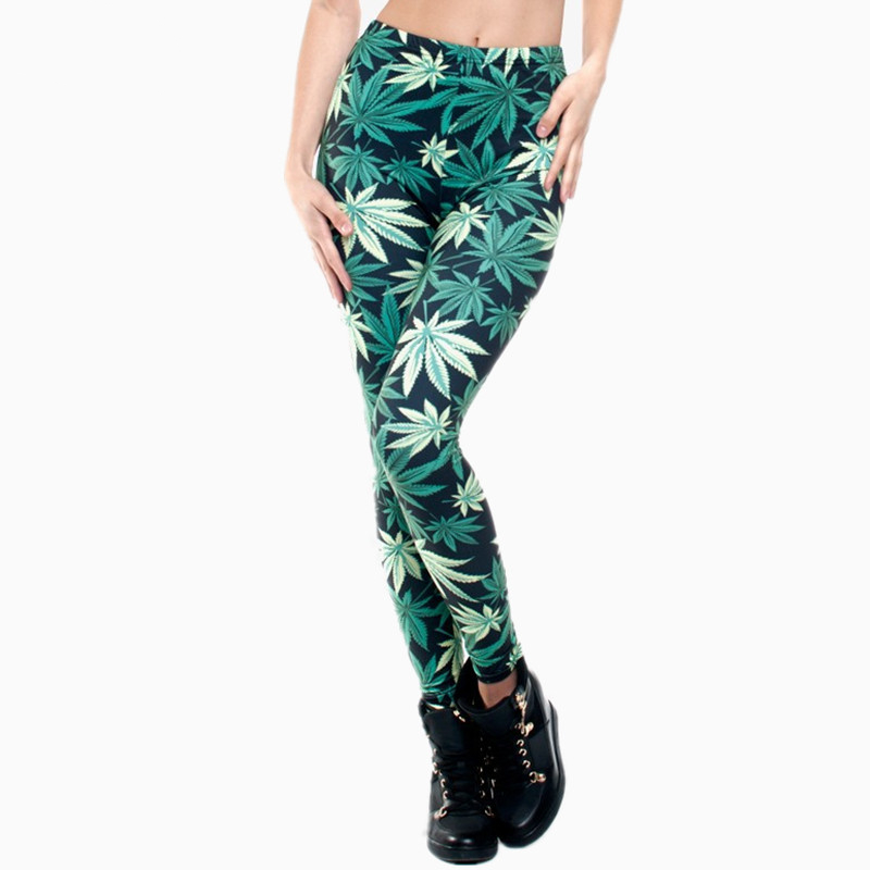 Women Clothing Ladies Legins Full Length Weeds 3D Graphic Printing Legging Sexy Punk Pants Leggings