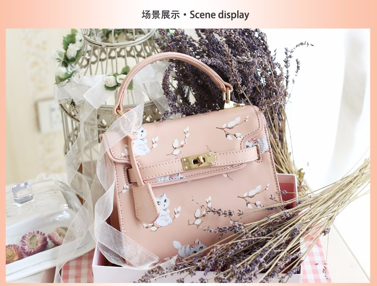 x4 New Sale Bolsas Mujer Small Peekaboo Saddle Faux Leather PU Pink Cat Floral Women\'s Handbags For Lady  Messenger Bags Totes