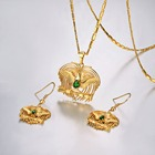 Kundu Bird of Paradise Necklaces Set for Women Gold Color Africa PNG Jewelry