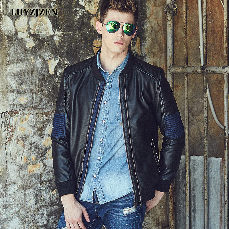 Autumn Bomber Mens Jackets Motorcycle PU Male Jacket Faux Leather Coat Men Casual Stand Collar Slim Fit Patchwork Coat Y20