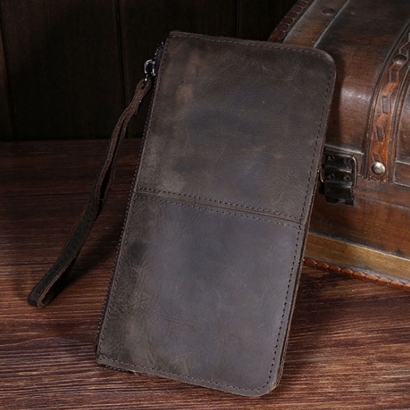 High Quality Crazy Horse Cowhide Wrist Purse Handy Pocket Male Cell Phone Case Coin Retro Genuine Leather Men Clutch Bag Wallet