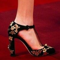 Украшен атласной высокий толстый каблук Для женщин Туфли лодочки с Т образным ремешком и Кристалл Chic Цветочный элегантные женские туфли на