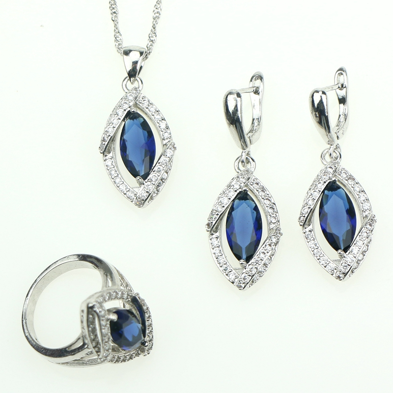New 925 Sterling Silver Blue Cubic Zirconia Gemstones Jewelry Necklace Pendant