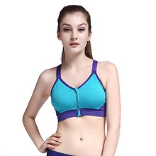 Newest Women's Zipper Permeable Sports Bra Wirefree Yoga Bras Tank Top Shakeproof Push Up Sapphire blue M