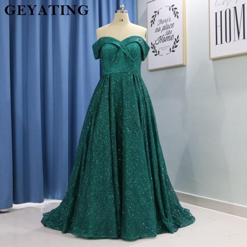 US $159.2 20% OFF Elegant Plus Size Women Formal Dress Long Off Shoulder  Sparkle Emerald Green Sequined Arabic Evening Prom Dresses Dubai Kaftan-in  ...