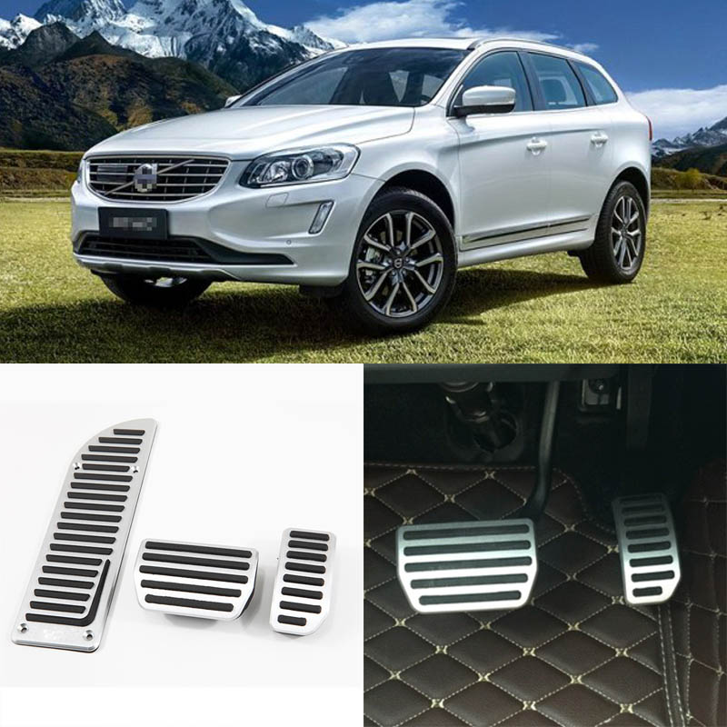 Brand New 3pcs Aluminium Non Slip Foot Rest Fuel Gas Brake Pedal Cover For Volvo XC60 AT 2015-2017 brand new 3pcs aluminium non slip foot rest fuel gas brake pedal cover for mazda 3 at 2011 2015