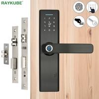 RAYKUBE Fingerprint Lock Smart Card Digital Code Electronic Door Lock Home Security Mortise Lock Wire Drawing Panel R FG5