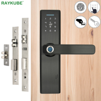 RAYKUBE Fingerprint Lock Smart Card Digital Code Electronic Door Lock Home Security Mortise Lock Wire Drawing Panel R FG5